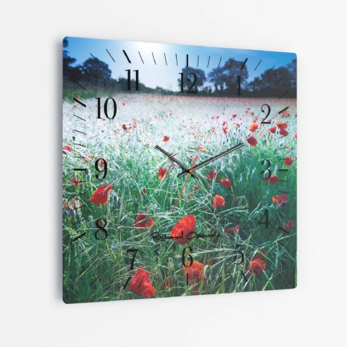 Poppies, Midsummer Dawn - Square Glass Clock